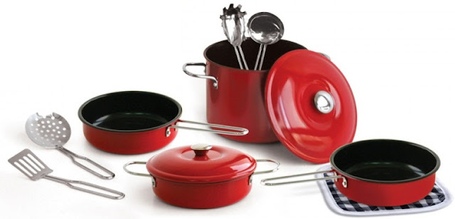 Bộ đồ nấu bếp Just For Chef Non-Stick Cookware Set 11 món màu đỏ