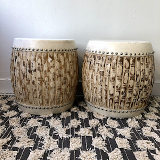 Drum Side Table Pair