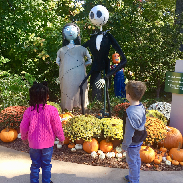 top mom mommy blogger atlanta georgia botanical gardens scarecrows in the garden black brown girl natural hair stay at home mom homeschool education field trip unschool education friends