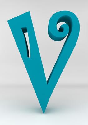 lettre 3D homme joker turquoise - V - images libres de droit