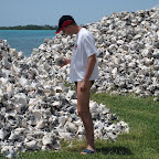 Piles of old conch shells near Lac Cai