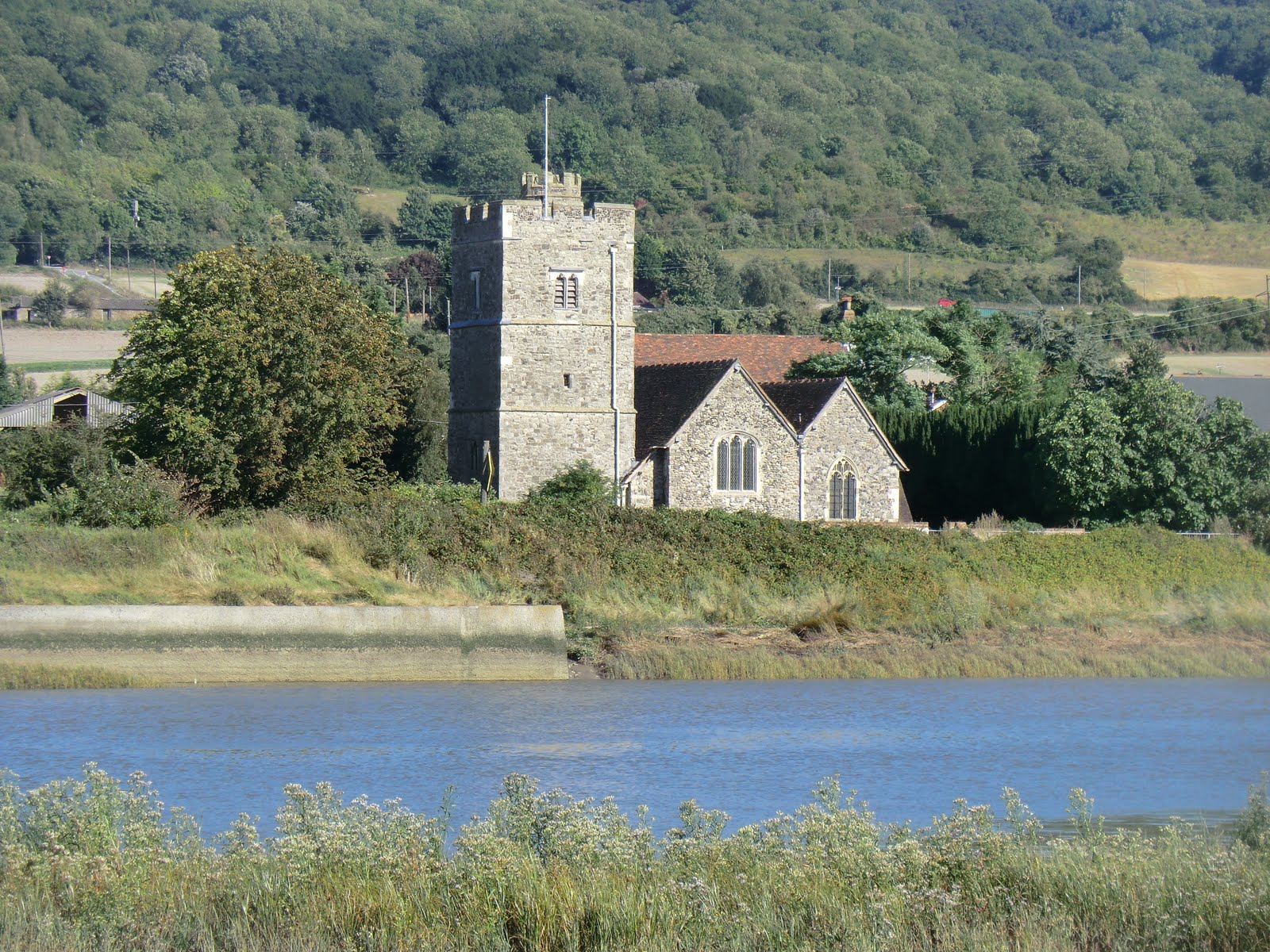 CIMG3948 Wouldham church on the far bank of the River Medway