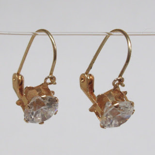 14K Gold and Clear Stone Drop Earrings