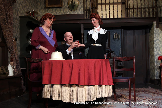 Debbie May, Richard Cross and Cindy Welch in ARSENIC AND OLD LACE (R) - May 2011.  Property of The Schenectady Civic Players Theater Archive.