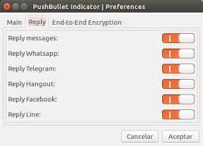 Configuración de mensajes con Pusbullet Indicator