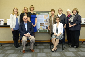 March 30, 2016 unveiling event: Front L-R: Dr. Gerald Hill WBSD Superintendent, Gina Gregory GWBHS President Back L-R: Ellen Simmons WBHS PTO, Randi Sakwa WBSD board, Christy Forhan OSH Phase 2 Chair, Sue Williams, OSH Phase 1 Co-chair, DuAnne Sonneville OSH editor, Helen Jane Peters OSH Phase 1 Co-chair, Clara Bohrer WBTPL Director