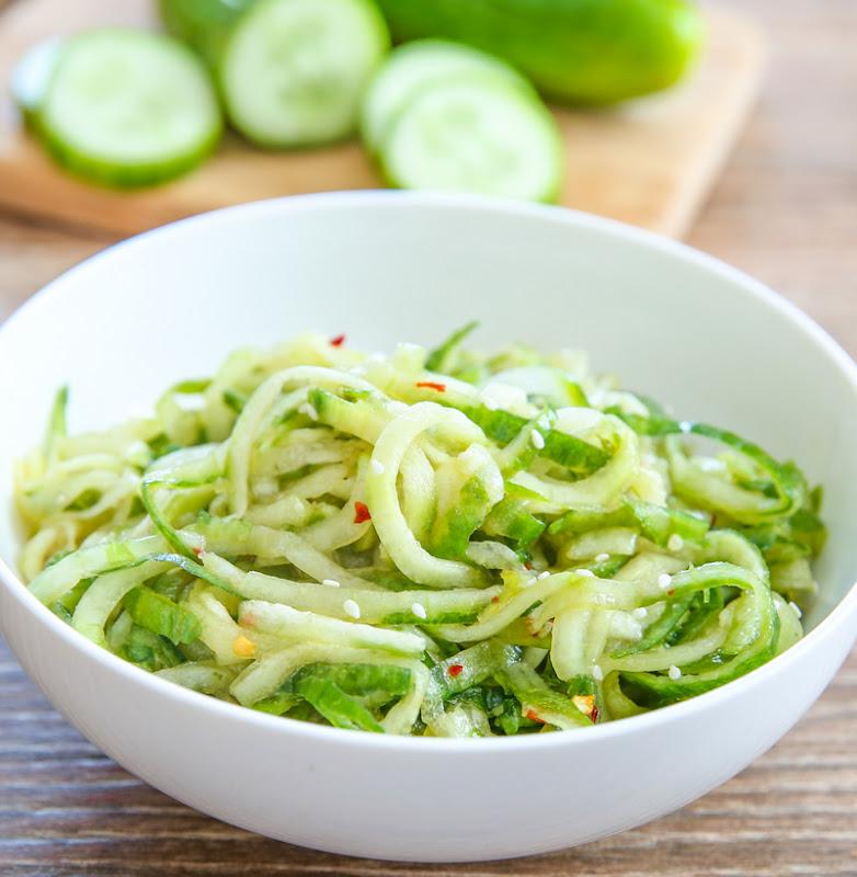 close-up photo of Sesame Cucumber Noodle Salad