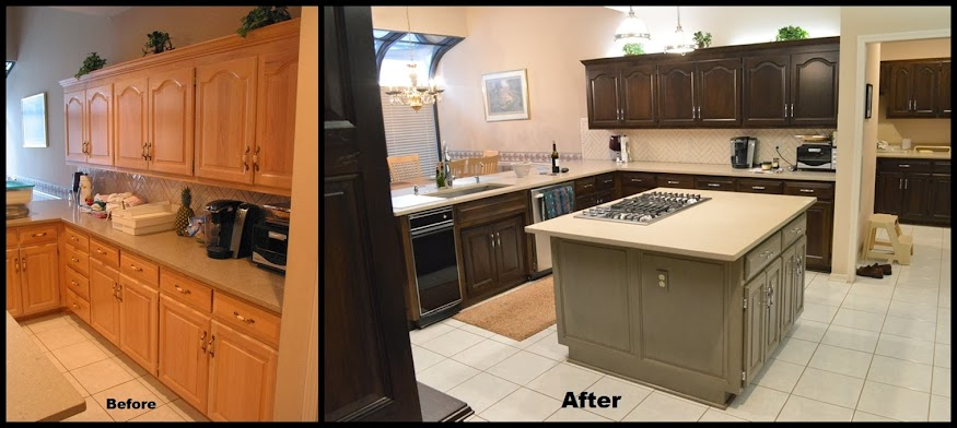 Kitchen cabinets refinishing before and after