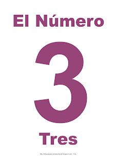 Lámina para imprimir el número tres en color morado