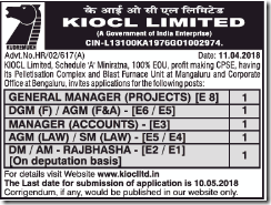 KIOCL Limited Notification 2018 www.indgovtjobs.in