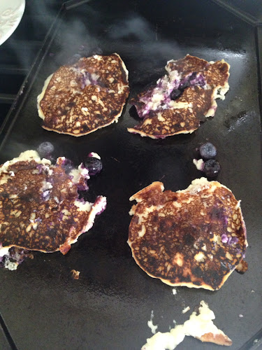 Lemon blueberry cottage cheese pancakes