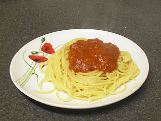 Picture of pasta with sauce.