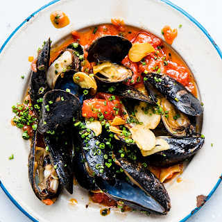 Mussels with Spicy Tomato Oil and Grilled Bread.