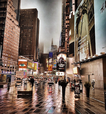 Times Square in the rain