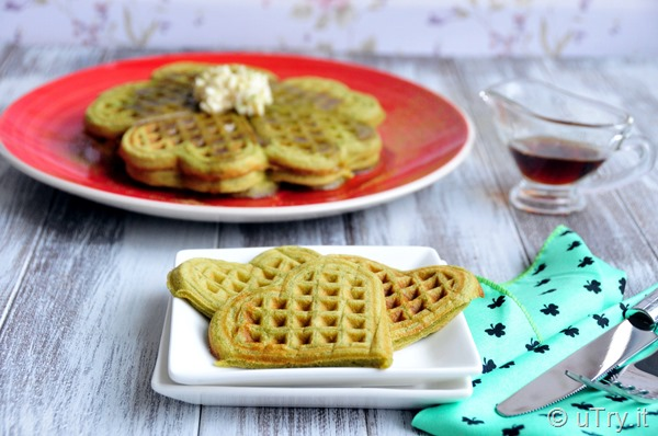 Crispy Matcha Green Tea Waffles (香脆綠茶窩夫) for St. Patrick's Day  http://uTry.it