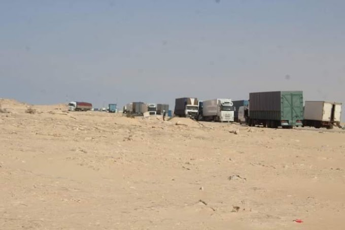 El ejército marroquí aconseja a los camiones que se retiren lejos de El Guerguerat.