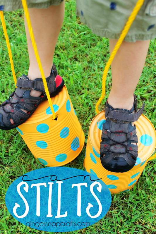 can stilts at GingerSnapCrafts.com #upcycle #recycle #kidcraft @decoart