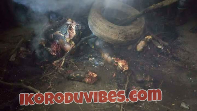 Photos: Angry Mobs Burnt Suspected BADOO Members To Death In Odogunya Ikorodu (Viewers Discretion Is Advised)