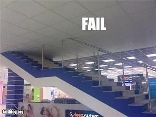 staircase constructio fail, built into false ceiling