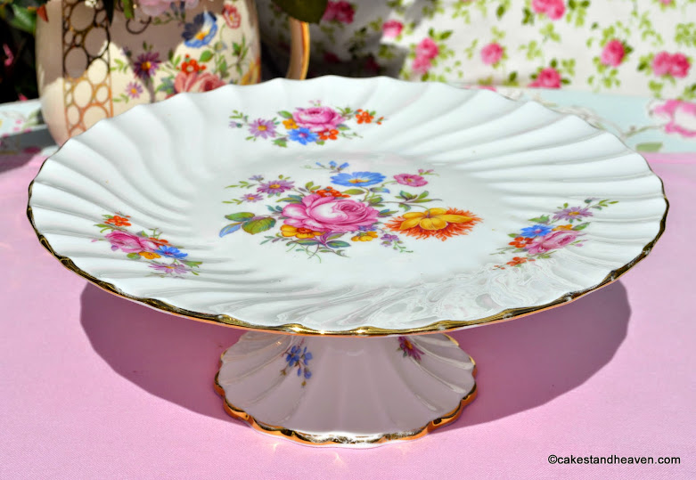 Crown Staffordshire Floral Pedestal Cake Stand
