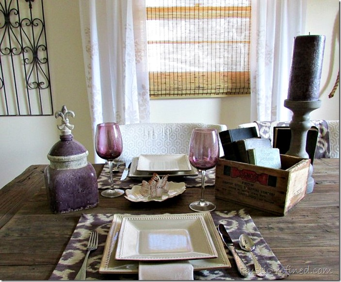 Late summer rustic tablescape on a beautiful barnwood table