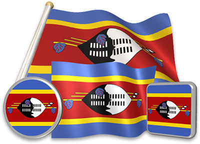 Swazi flag animated gif collection