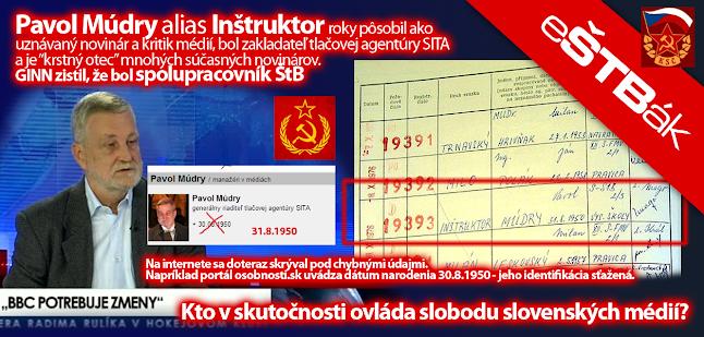 Pavol Múdry alias Inštruktor bol spolupracovníkom ŠTB