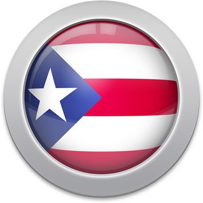 Puerto Rican flag icon with a silver frame