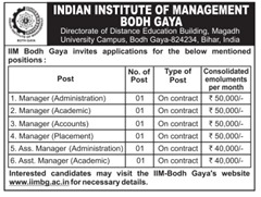 IIM Bodh Gaya Advertisement 2016-2017 www.indgovtjobs.in