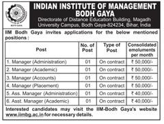 IIM Bodh Gaya Advertisement 2016-2017 www.indgovtjobs.in