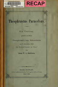 Cover of Georg Wilhelm August Kahlbaum's Book Theophrastus Paracelsus (in German)