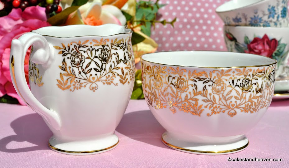 Queen Anne gold floral vintage china creamer and sugar bowl