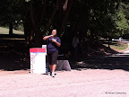 Lisa hydrating post race.
