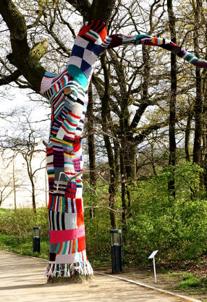 Knitted graffiti tree yarn bombing Floriade 2012