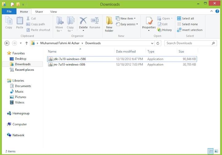 Folder tempat Instalasi Java disimpan