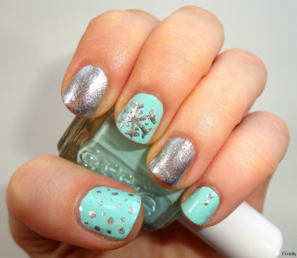 Snowflake Nail Art with Zoya Trixie and Essie Mint Candy Apple 3
