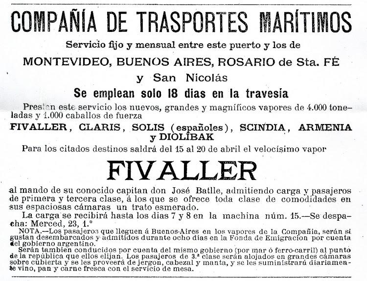 Anuncio en el diario LA VANGUARDIA del año 1882 sobre la partida del FIVALLER. Interesantísimo leer el texto del anuncio.jpg
