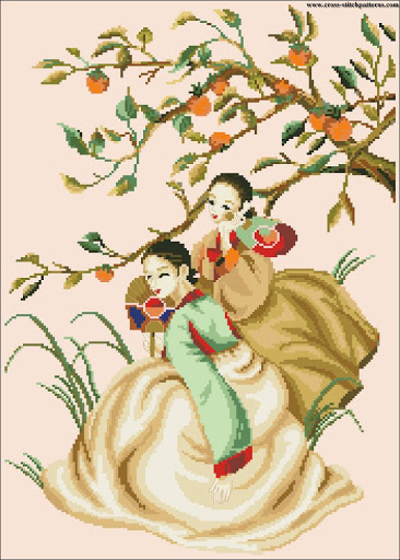 Oriental Ladies Orange Tree chart