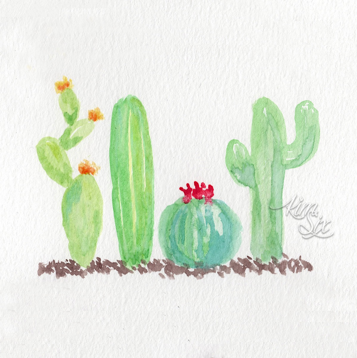 Hand Lettered Cactus Watercolor Printable - The Kim Six Fix