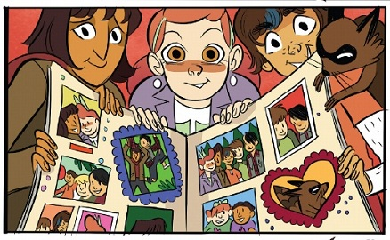 Lumberjanes: April, Jo and Ripley hold a scrap book.