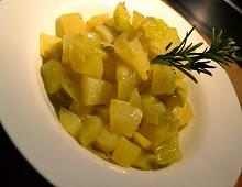 poireaux et pommes de terre compotés au romarin