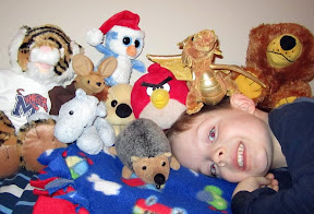 Joe & his stuffed animals...