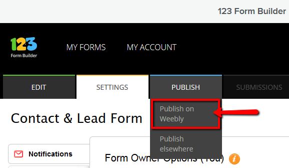 123 Form Builder for Weebly - Publish Form