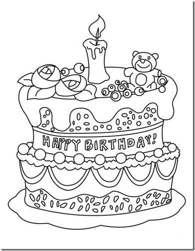 happy Birthday colorear  tarta cumpleaños en inglés