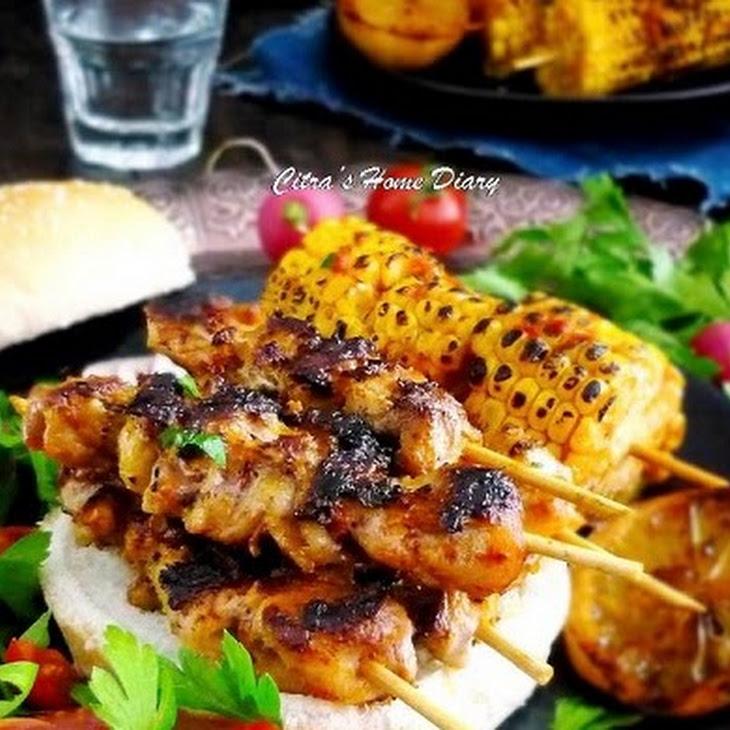 Piri Piri Chicken Kebab with Piri Piri Grilled Corn on the cob