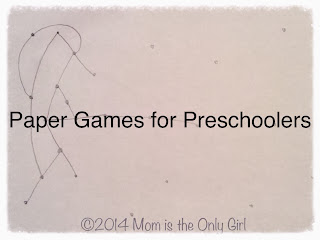 Pencil and paper games for preschoolers and young elementary at https://momistheonlygirl.com
