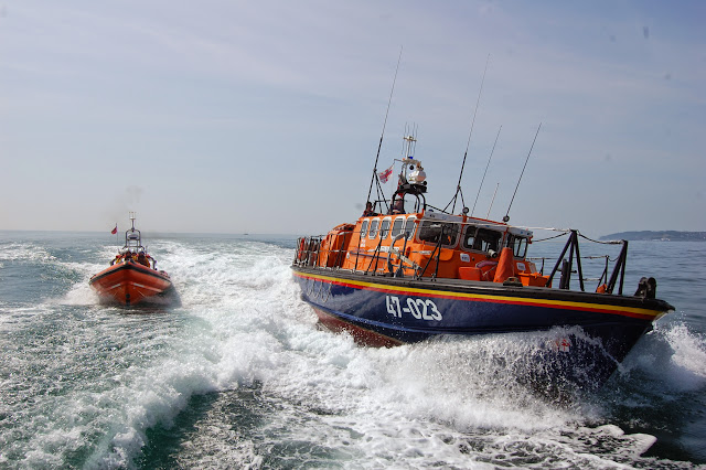 Poole's Tyne class and B class Atlantic 85 lifeboats in action Sunday 14 July 2013  Photo: RNLI Poole/Dave Riley