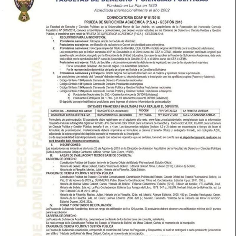UMSA 2018: Convocatoria para la Prueba de Suficiencia Académica de la Facultad de Derecho y Ciencias Políticas