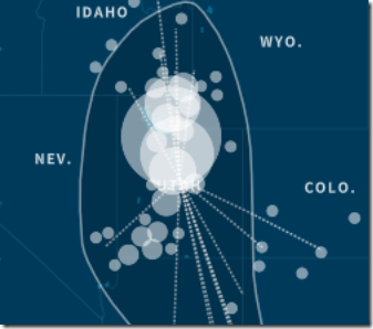AncestryDNA genetic community map for Mormon Pioneers in the Mountain West, 1875-1900