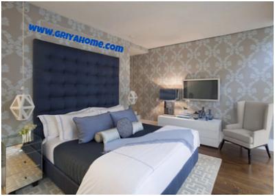 Desain Minimalis Apartemen Studio Menggunakan Wallpaper